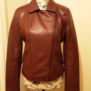 Blank NYC leather jacket maroon color